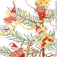 Les lutins d�corent le sapin, broderie point de croix, cr�ation Sylvie Teytaud