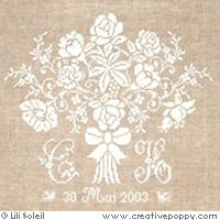 Le bouquet de la mari�e, broderie point de croix, cr�ation Lili Soleil