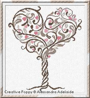 L'arbre d'Amour, broderie point de croix, cr�ation Alessandra Adelaide Needleworks