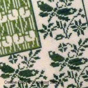 Log cabin - printemps, broderie point de croix, cr�ation Gracewood Stitches
