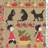 Sampler mini-motifs: la r�colte, (grand mod�le) cr�ation Perrette Samouiloff (detail)