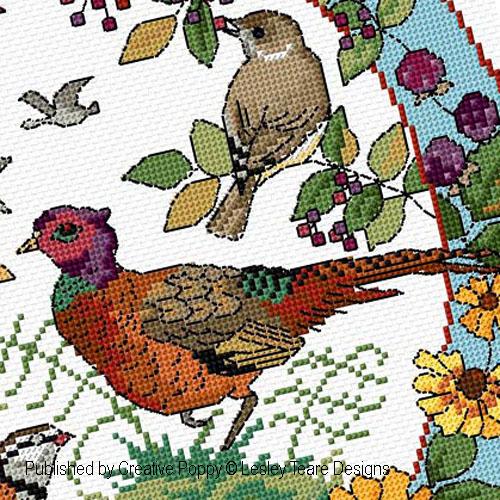 Oiseaux en automne, grille de broderie, cr�ation Lesley Teare