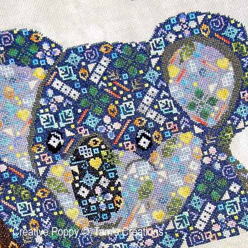 Koala-in-patches, grille de broderie, cr�ation Tam's Creations