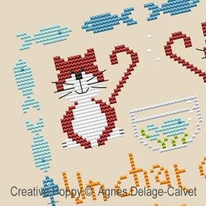 Un chat si sage, grille de broderie, cr�ation Agn�s Delage-Calvet