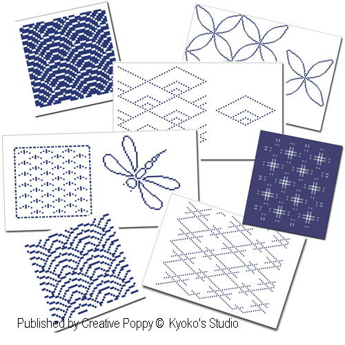Les carnets du point de croix: 10 motifs traditionnels du japon, grille de broderie, cr�ation Kyoko's Studio
