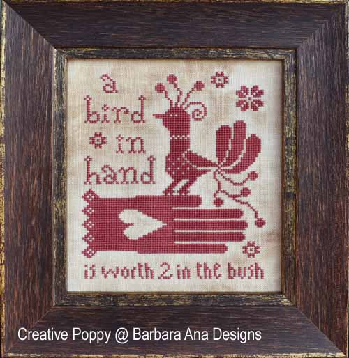 A Bird in Hand, grille de broderie, cr�ation Barbara Ana