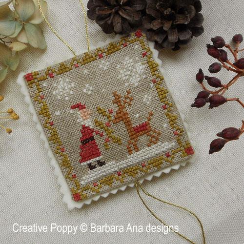 3 ornements de Noël, grille de broderie, création Barbara Ana