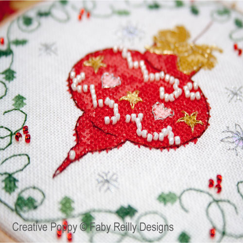 Tambours Boule et Coeur, grille de broderie, cr�ation Faby Reilly