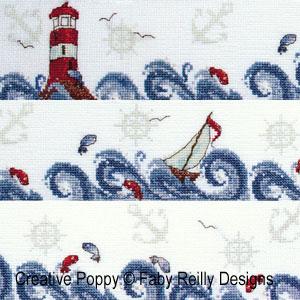Bandeau Haute Mer drap de bain grille point de croix cr�ation Faby Reilly