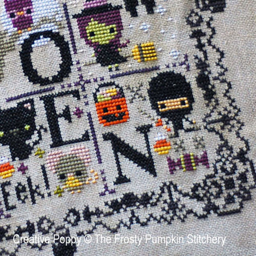 Halloween Chair de poule, grille de broderie, cr�ation The frosted Pumpkin Stitchery