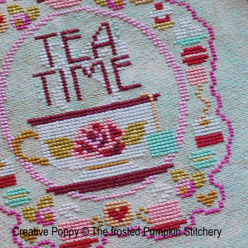 L'Heure du th�, grille de broderie, cr�ation The Frosted Pumpkin Stitchery