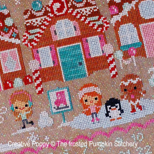 No�l, rue du pain d'�pice, grille de broderie, cr�ation The Frosted Pumpkin Stitchery
