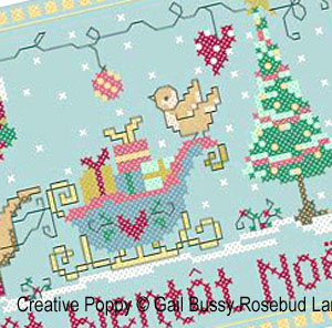 Le petit chien press�, broderie point de croix, cr�ation Gail Bussi, Rosebud Lane Designs