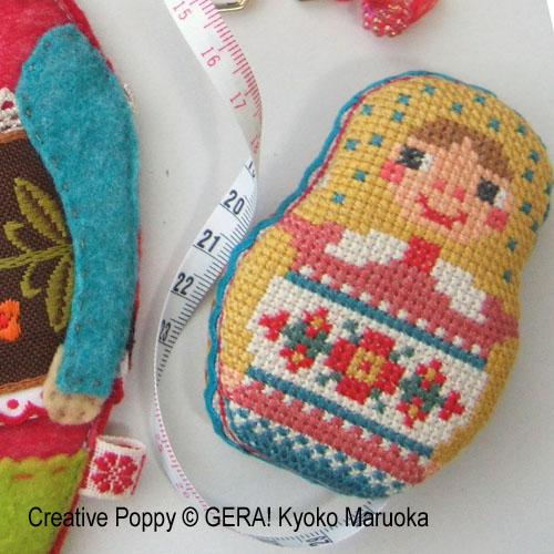Matryoshka - Trio d'accessoires de broderie, grille de broderie, création GERA! Kyoko Maruoka