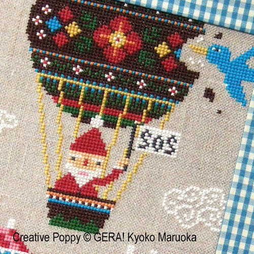 Gera! by Kyoko Maruoka - Santa's S.O.S. zoom 1 (cross stitch chart)