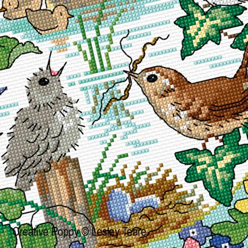 Le printemps des oiseaux, grille de broderie, cr�ation Lesley Teare