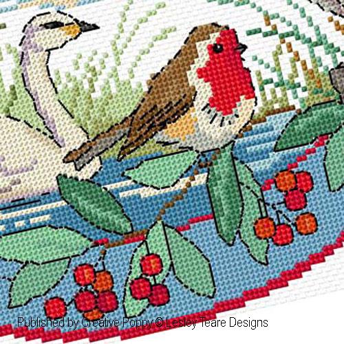 Oiseaux en hiver, grille de broderie, création Lesley Teare