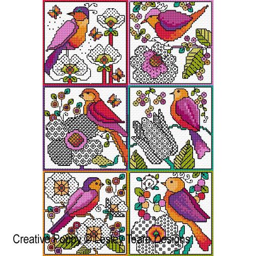 Petits motifs de Blackwork (Fleurs et oiseaux), grille de broderie, création Lesley Teare