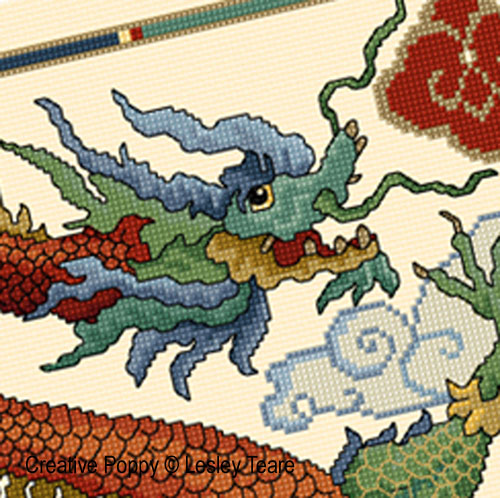 Dragon, grille de broderie, cr�ation Lesley Teare