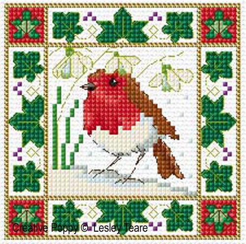 Oiseaux de No�l, grille de broderie, cr�ation Lesley Teare