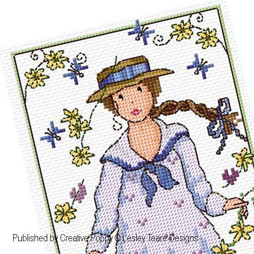 Jeune fille aux p�querettes, grille de broderie, cr�ation Lesley Teare