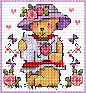 Cartes 4 motifs oursons - Fille, grille de broderie, cr�ation Lesley Teare
