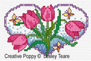 Coeurs en fleurs, grille de broderie, cr�ation Lesley Teare