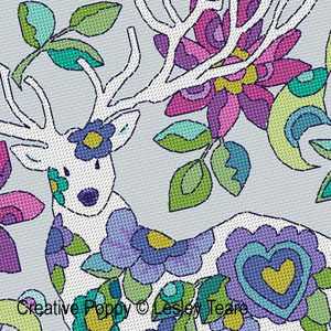 Le grand cerf blanc, grille de broderie, cr�ation Lesley Teare