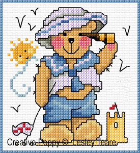 Cartes 4 motifs oursons - Gar�on, grille de broderie, cr�ation Lesley Teare