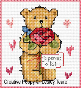 Cartes 4 motifs oursons - F�tes , grille de broderie, cr�ation Lesley Teare