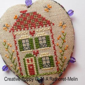 Pinkeep - La maison � la porte rouge, grille de broderie, cr�ation Marie-Anne Rethoret-Melin