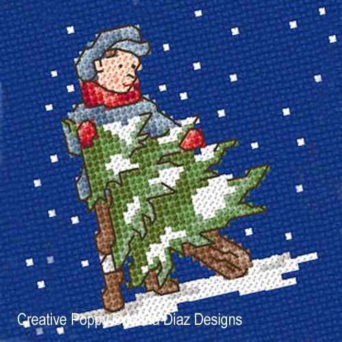 Noël autrefois - les enfants, grille de broderie, création Maria Diaz