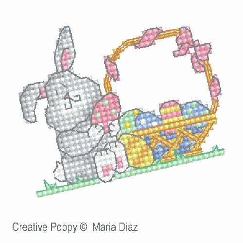 Poussin et lapin de P�ques, grille de broderie, cr�ation Maria Diaz