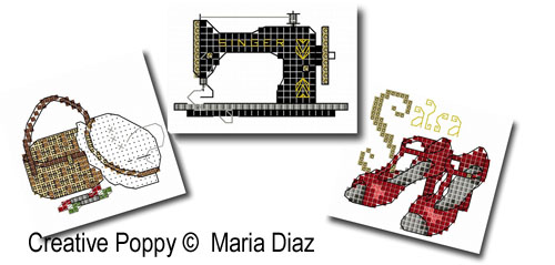 Loisirs, sports, hobbies I (20 motifs), grille de broderie, cr�ation Maria Diaz