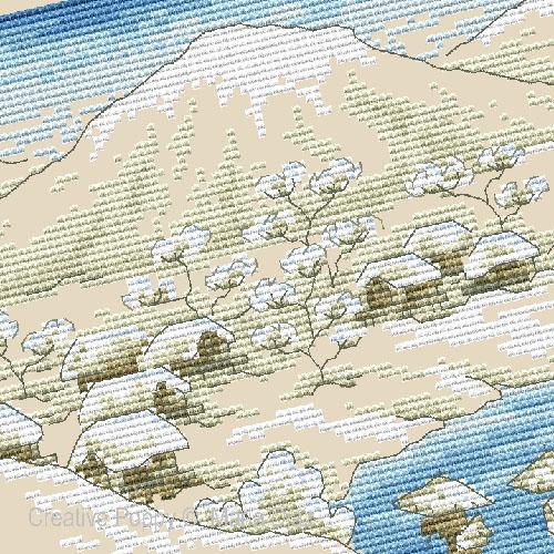 Paysage japonais sous la neige, grille de broderie, cr�ation Maria Diaz