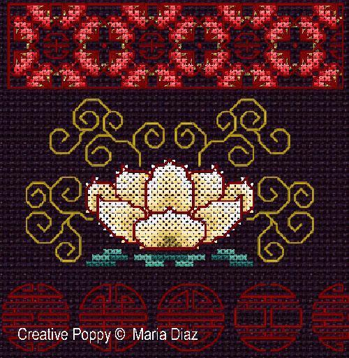 Motifs Floraux orientaux, grille de broderie, cr�ation Maria Diaz