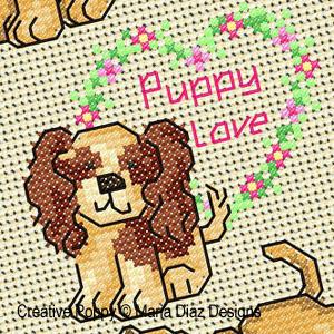 Puppy Love (un amour de chiot) planche de point de croix