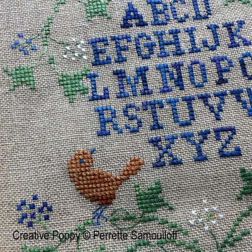Bannière d'hiver aux baies bleues, grille de broderie, création Perrette Samouiloff