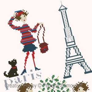 Paris Rive Gauche, grille de broderie, cr�ation Perrette Samouiloff