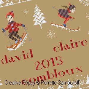 Vacances � la neige, grille de broderie, cr�ation Perrette Samouiloff