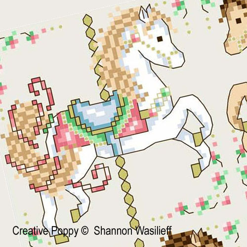 Chevaux de man�ge, grille de broderie, cr�ation Shannon Christine Wasilieff
