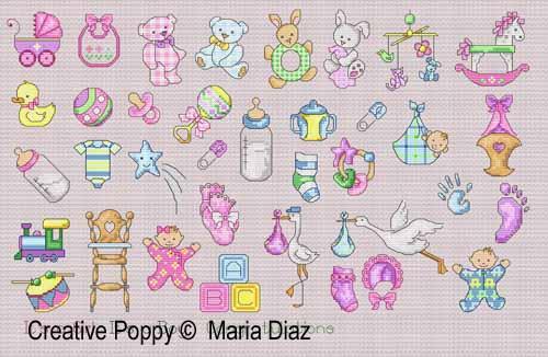 Maria Diaz - 36 motifs naissance (grille broderie point de croix)