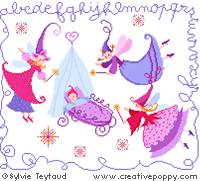 Abécédaire bébé aux 3 bonnes fées - grille point de croix - création Sylvie Teytaud