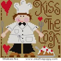 Bon appétit! (version avec le cuisinier) - grille point de croix - création Barbara Ana