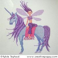 Léa, la fée à la licorne - grille point de croix - création Sylvie Teytaud