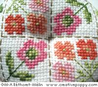 Biscornu: mon petit jardin, grille de broderie, création Marie-Anne Réthoret-Melin, zoom 1
