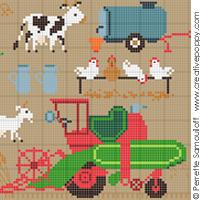 <b>A la ferme GM</b><br>grille point de croix<br>création <b>Perrette Samouiloff</b>