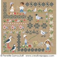 Sampler mini motifs - la mer GM - grille point de croix - création Perrette Samouiloff
