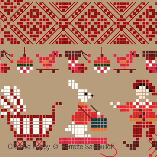 Sampler mini motifs - Noël GM - grille point de croix - création Perrette Samouiloff
