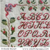Marquoir ancien - Maria Braillon 1877 transposé au point de croix par Muriel Berceville
